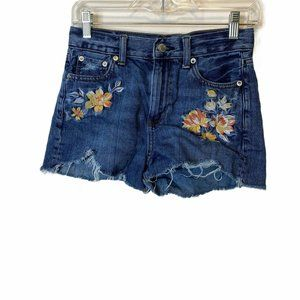 American Eagle Frayed Floral Embroidered Mom Short